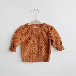 Burnt Orange Cotton Cable Knit Sweater 12-18 M